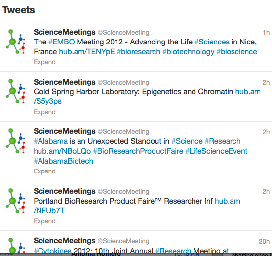 Science meetings twitter feed