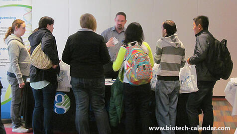 A lab supplier discusses his products with eager and interested WSU researchers at the 2014 event.