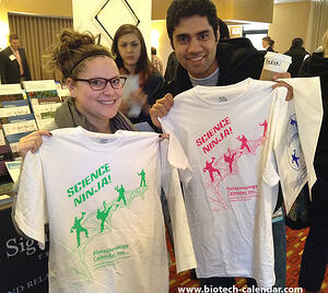 Life science researchers show off their new Science Ninja shirts from a past BRPF™ event.