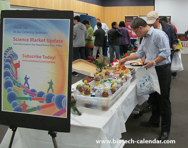 Tucson researchers enjoy the complimentary lunch buffet at the 2014 BioResearch Product Faire™ Event.