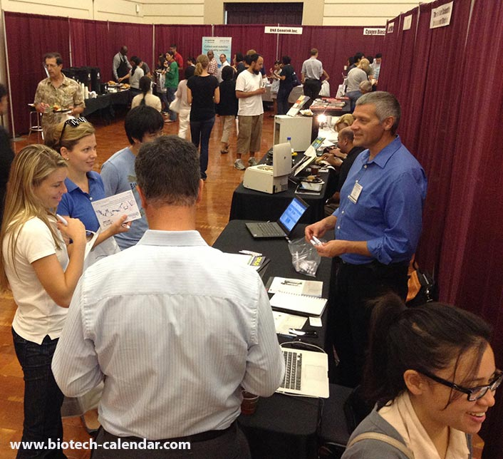 San Dirgo researchers discuss available products with lab suppliers at a past Biotechnology Vendor Showcase™ Event.