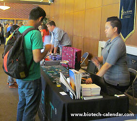 A scientists learns about new tools and technologies that could benefit his lab work at the 2014 BioResearch Product Faire™ Event in Berkeley.
