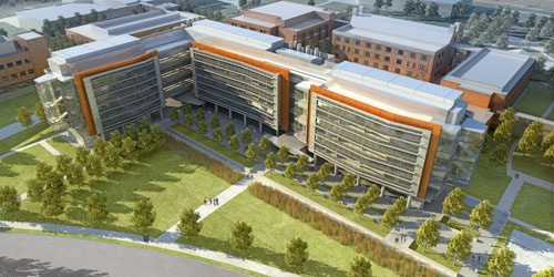 Image from Flad Architects - An aerial rendering of the new chemistry and chemical biology building.