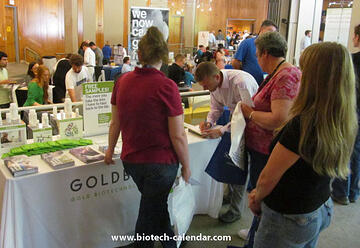 Researchers learn about new products available from GOLDBIO at at past BioResearch Product Faire™ Event in Durham.