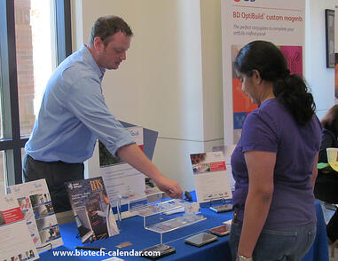A lab supplier meets with new leads at a past Colorado BioResearch Product Faire Event.